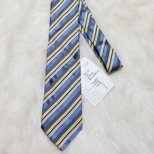 Banana Republic Silk Tie Yellow Blue Gray Stripes